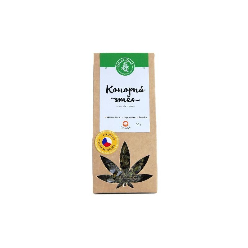 etiketa konopnej CBD herby, sypaného čaju
