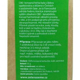 BIO konopný čaj sypaný s 1,6 percentným podielom liečivého CBD kanabidiolu v ekologickom balení - etiketa