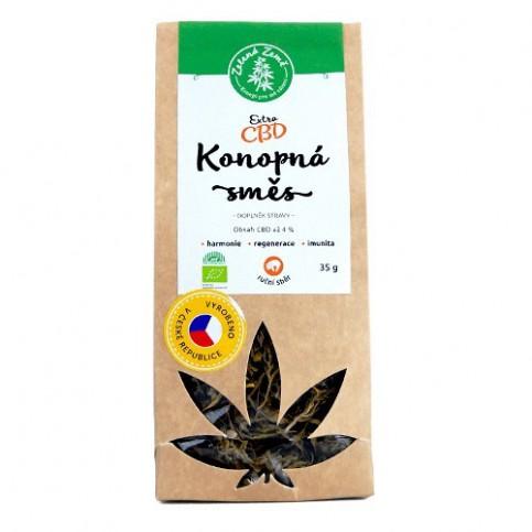 bio konopná herba s extra vysokým obsahom CBD Kanabidiolu v ekologickom balení