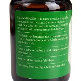 CBD kapsule v sklenenej fľaštičke - etiketa