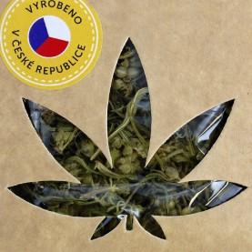 CBG konopný čaj 1,8 percentný v ekologickom obale - etiketa