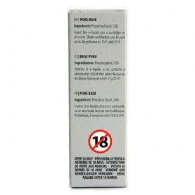 e-liquid s obsahom CBD v sivej krabičke na bielom pozadí - etiketa