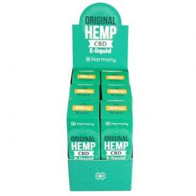 CBD e-liquidy s vyšším obsahom CBD v malých zelených krabičkách na bielom pozadí
