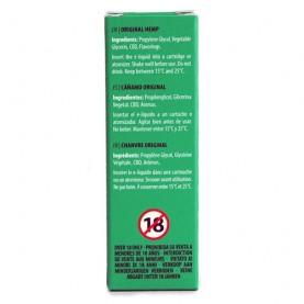 CBD e-liquid s vyšším obsahom CBD v malej zelenej krabičke na bielom pozadí - etiketa