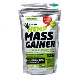 Konopný Hemp Mass Gainer 125 g strava gladiátorov na bielom pozadí