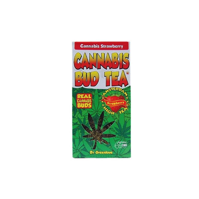 CBD konopný čaj Cannabis bud tea jahoda na bielom pozadí