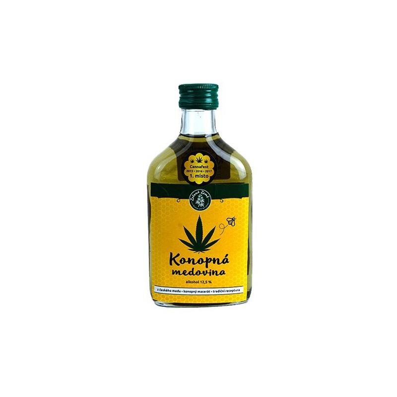 konopná medovina z bio konope v sklenenej fľaši