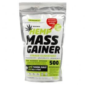 konopný mass Gainer proteínový výrobok v balení zip-lock