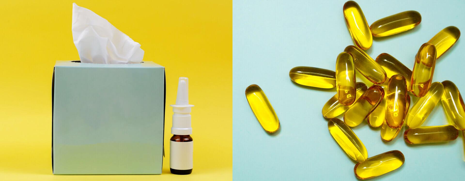 Ilustračný obrázok: CBD a alergie - papierové vreckovky a sprej do nosa a kapsule s obsahom CBD oleja